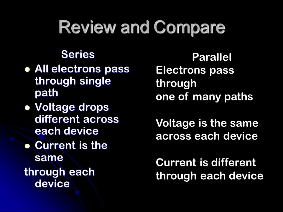 Review and Compare Series Parallel