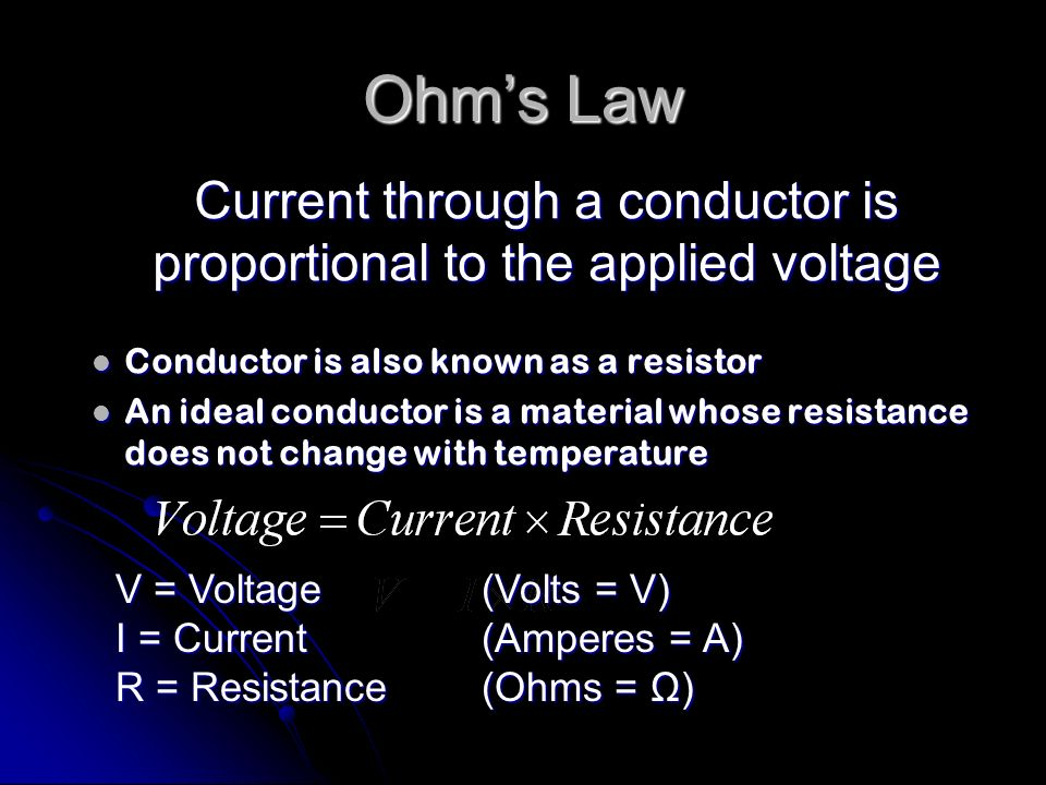 Current through a conductor is proportional to the applied voltage