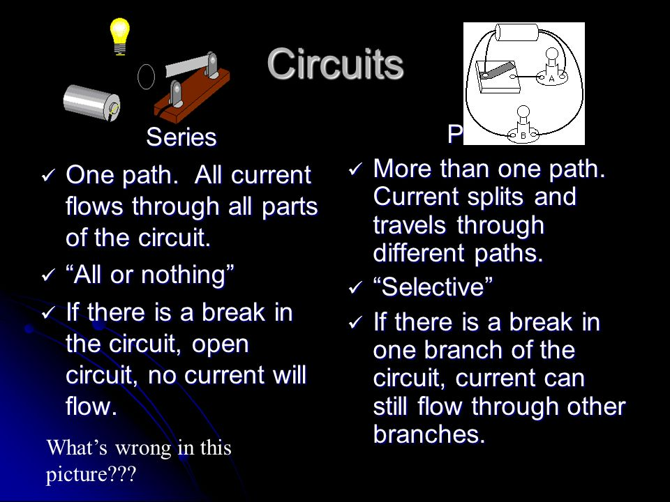 Circuits Series. One path. All current flows through all parts of the circuit. All or nothing