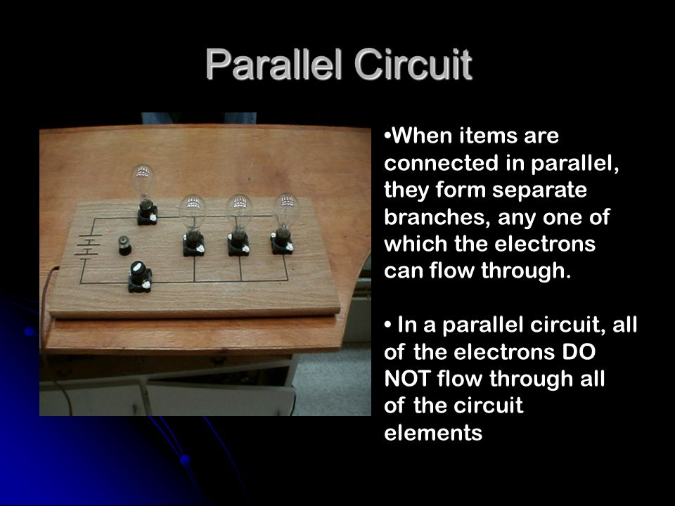 Parallel Circuit When items are connected in parallel,