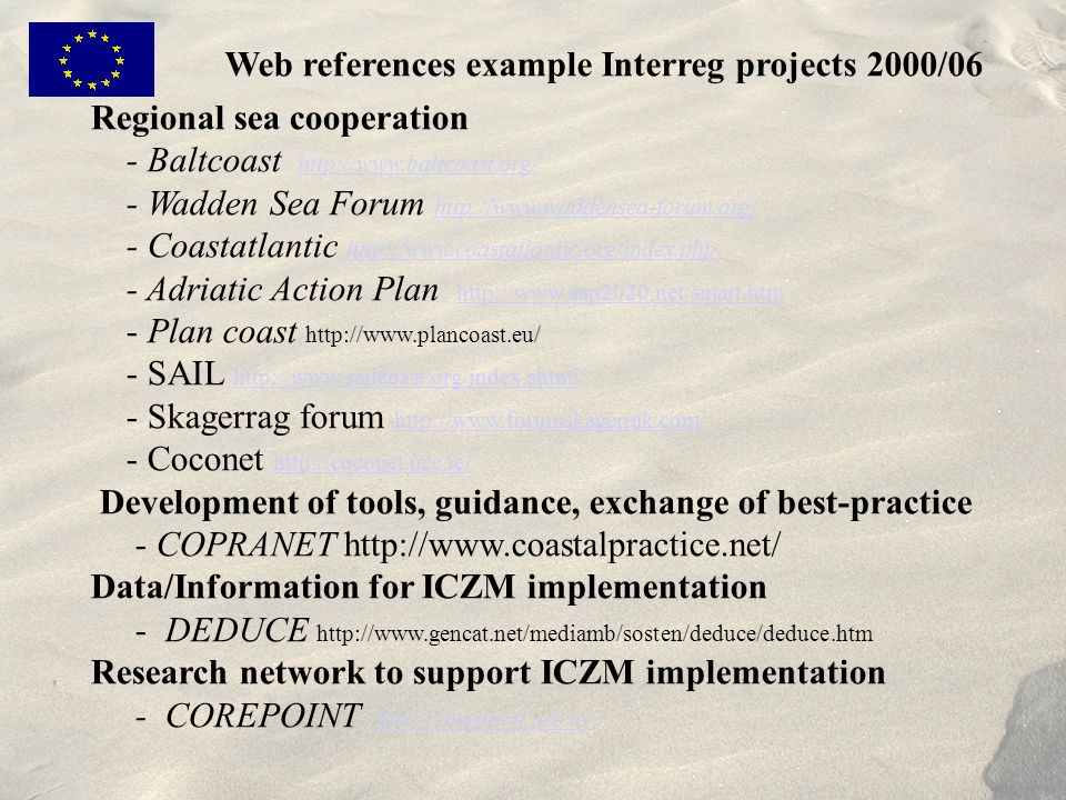 Web references example Interreg projects 2000/06