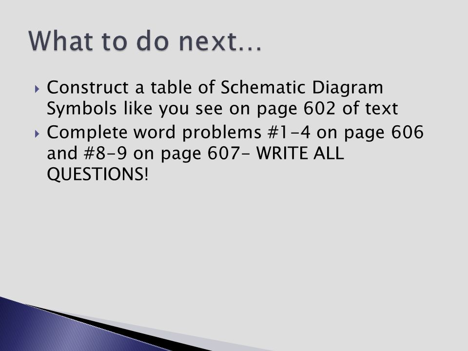 What to do next… Construct a table of Schematic Diagram Symbols like you see on page 602 of text.