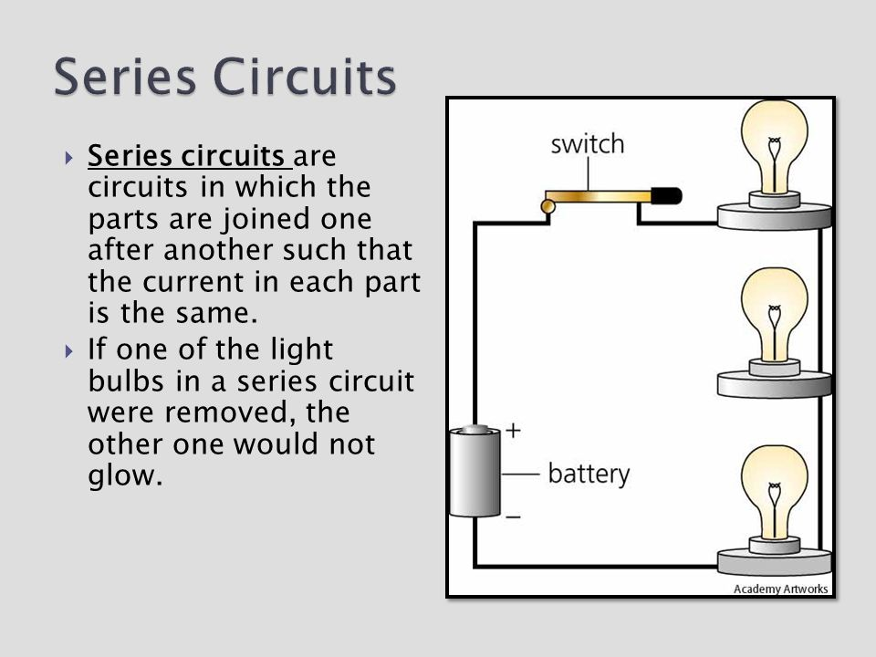 Series Circuits Series circuits are circuits in which the parts are joined one after another such that the current in each part is the same.