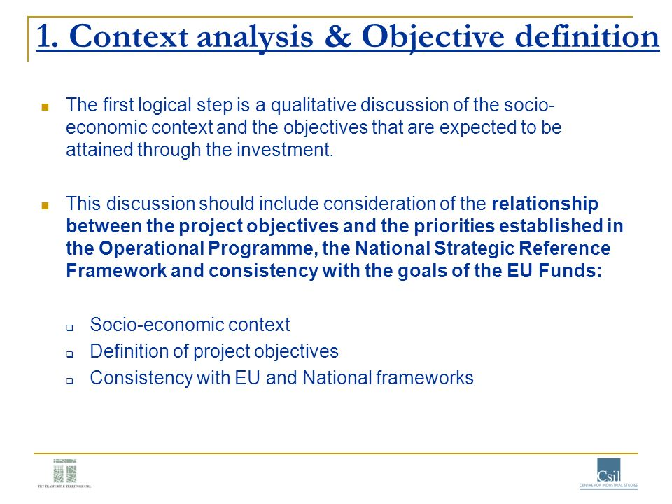 1. Context analysis & Objective definition
