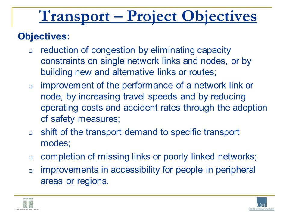 Transport – Project Objectives