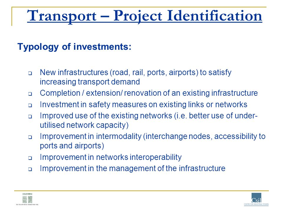 Transport – Project Identification