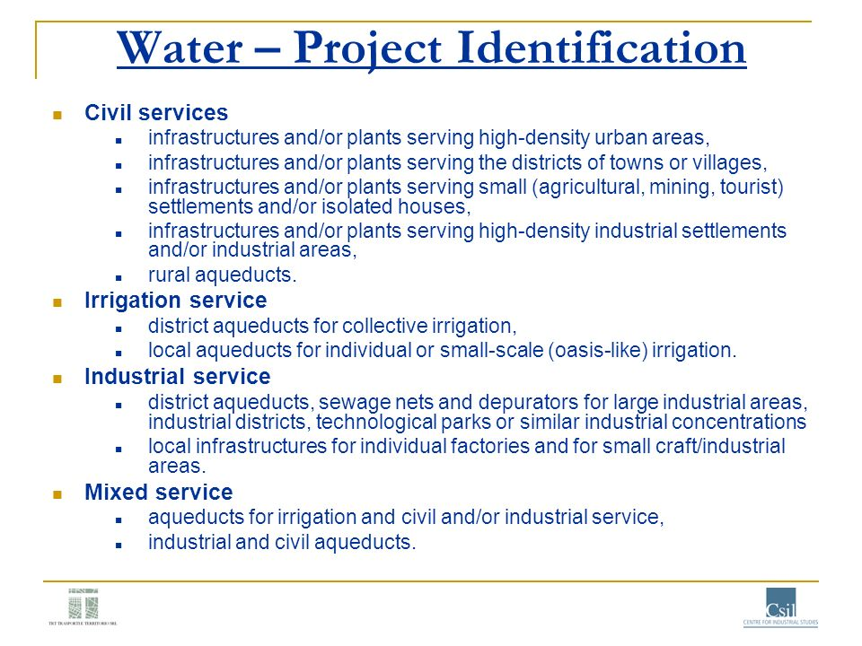Water – Project Identification