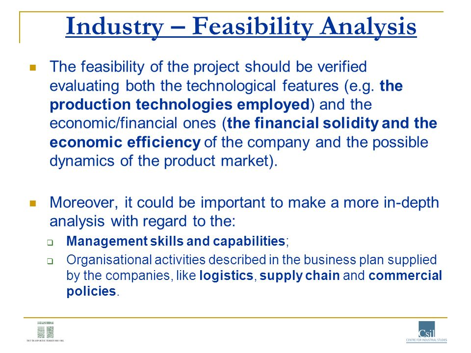 Industry – Feasibility Analysis