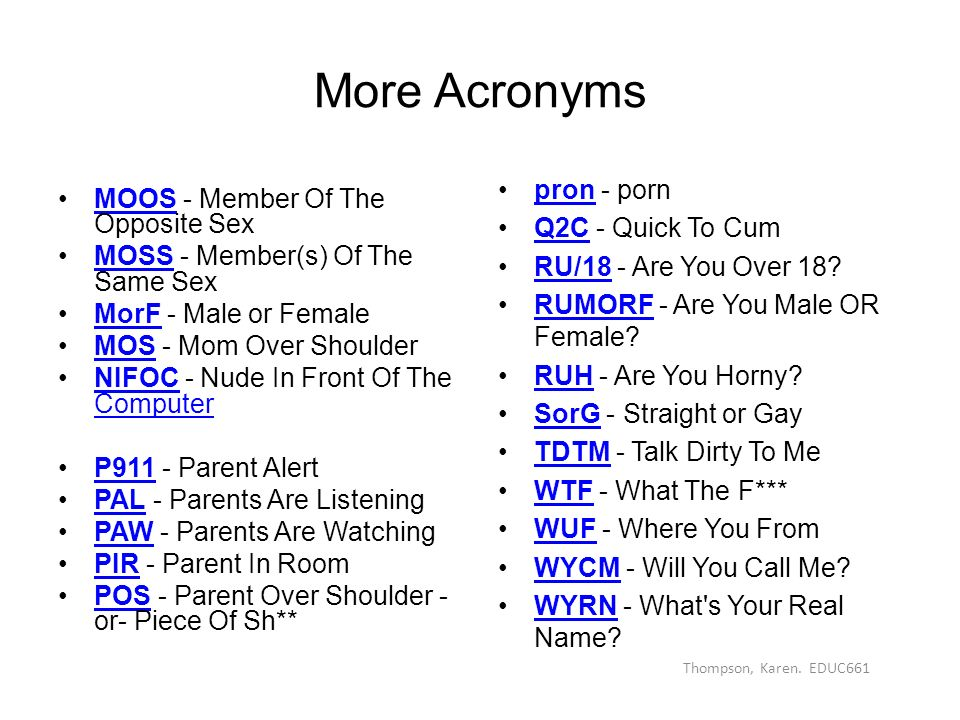 Sex abbreviations in the sex industry