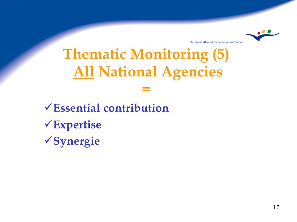 Thematic Monitoring (5) All National Agencies =