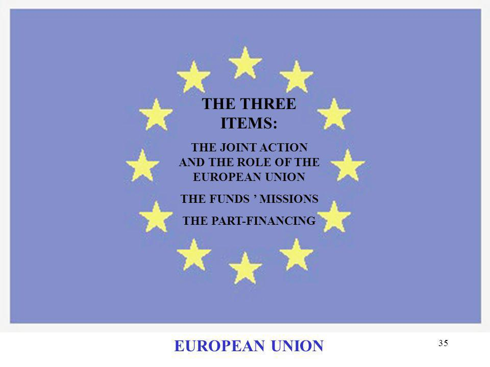 THE JOINT ACTION AND THE ROLE OF THE EUROPEAN UNION