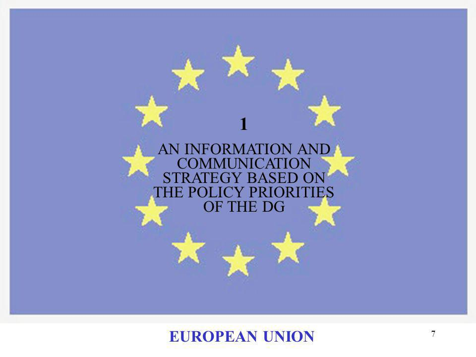 1 AN INFORMATION AND COMMUNICATION STRATEGY BASED ON THE POLICY PRIORITIES OF THE DG EUROPEAN UNION