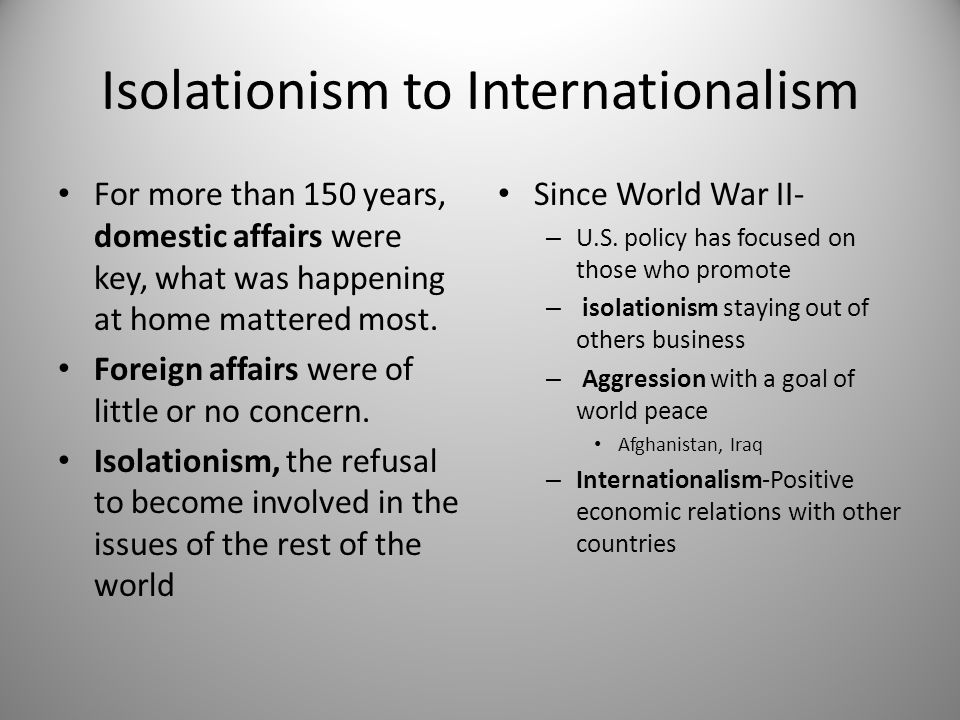 Isolationism to Internationalism