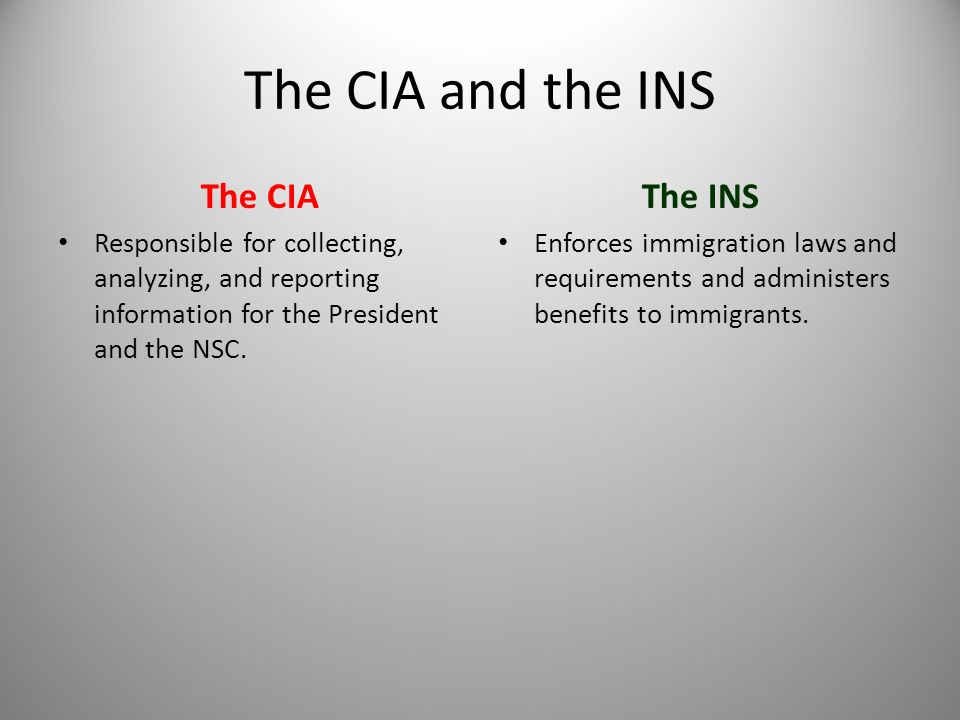 The CIA and the INS The CIA The INS