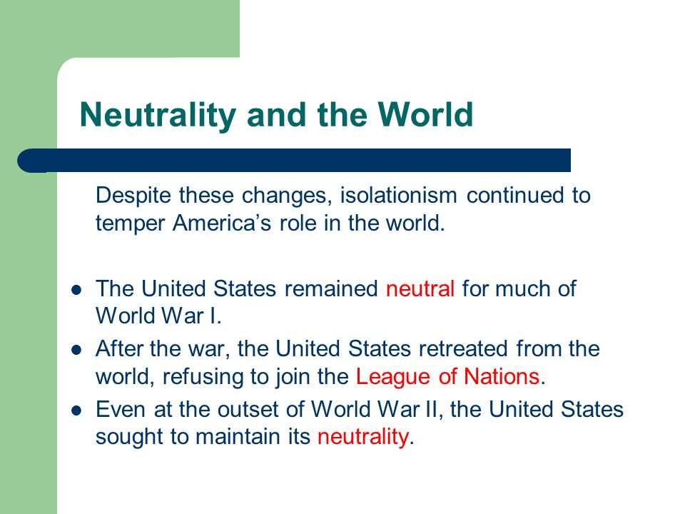 Neutrality and the World