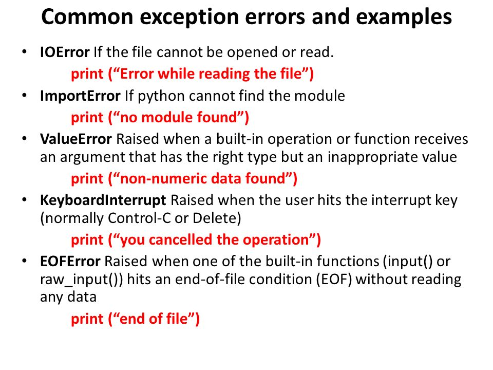 Functions Reading/writing files Catching exceptions - ppt