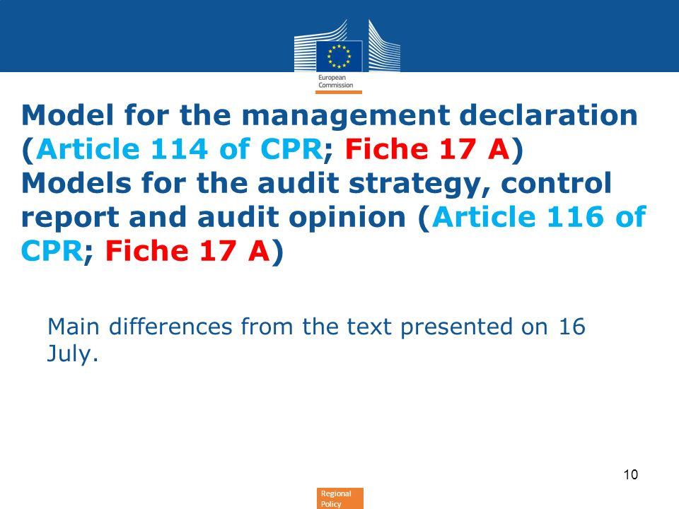 Model for the management declaration (Article 114 of CPR; Fiche 17 A) Models for the audit strategy, control report and audit opinion (Article 116 of CPR; Fiche 17 A)