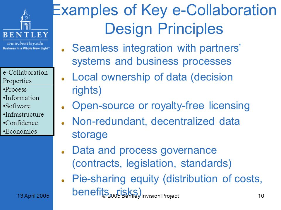 Examples of Key e-Collaboration Design Principles