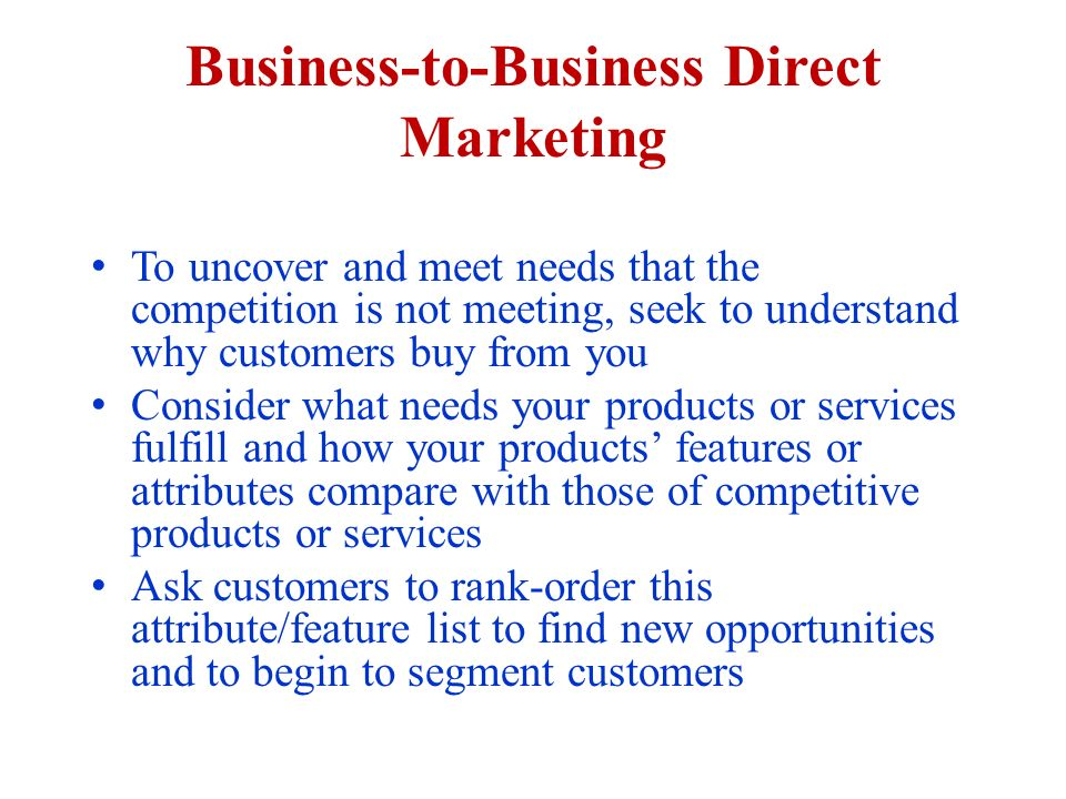 Direct marketing business opportunities