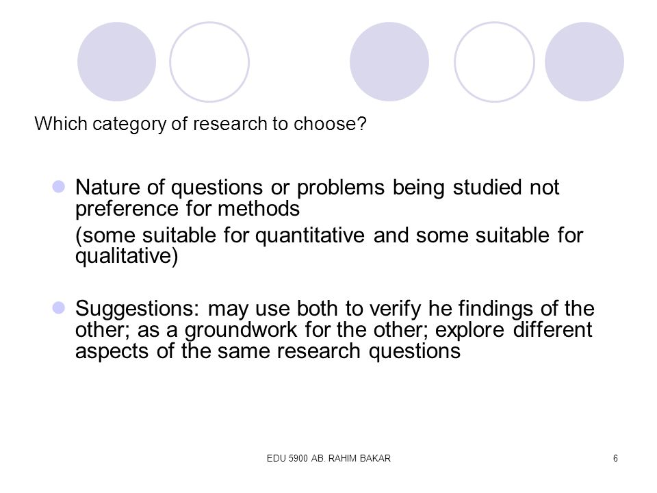 Which category of research to choose