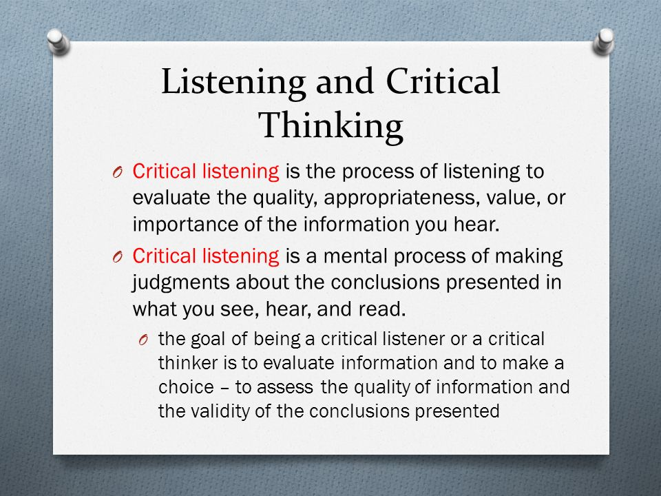 importance of critical listening