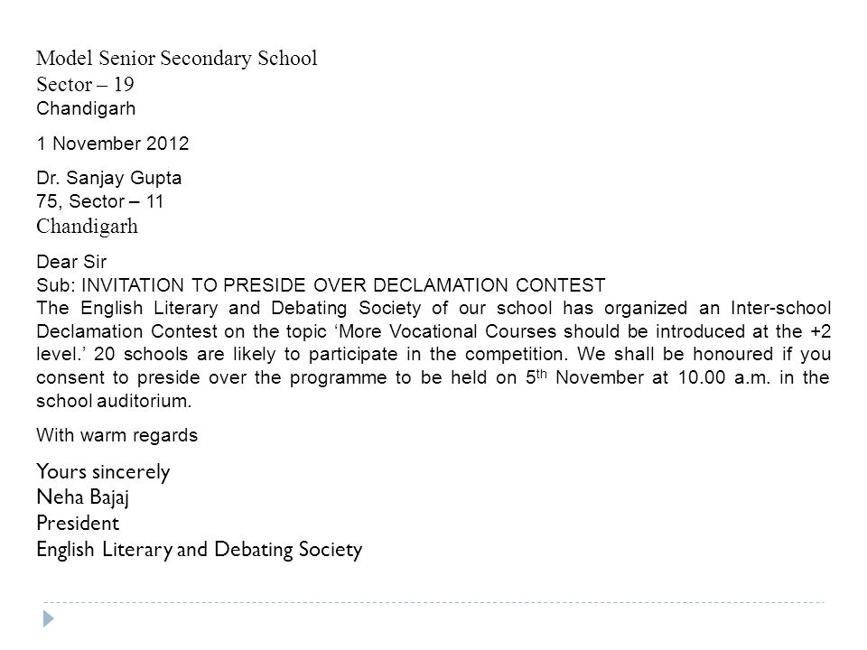 Invitations invitations ppt video online download model senior secondary school sector 19 stopboris Image collections