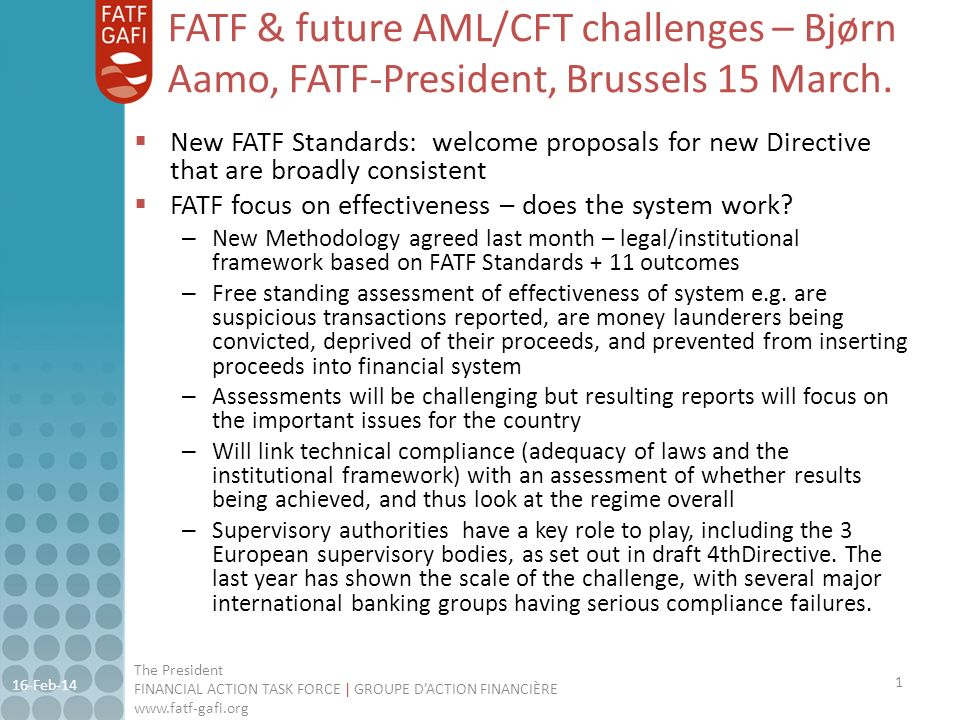FATF & future AML/CFT challenges – Bjørn Aamo, FATF-President, Brussels 15 March.