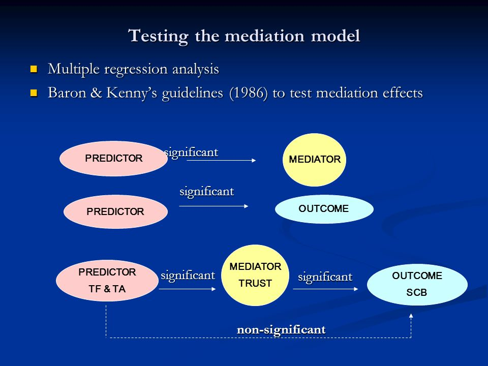 Testing the mediation model