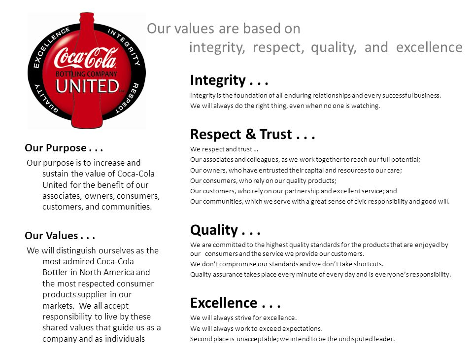 coca cola values