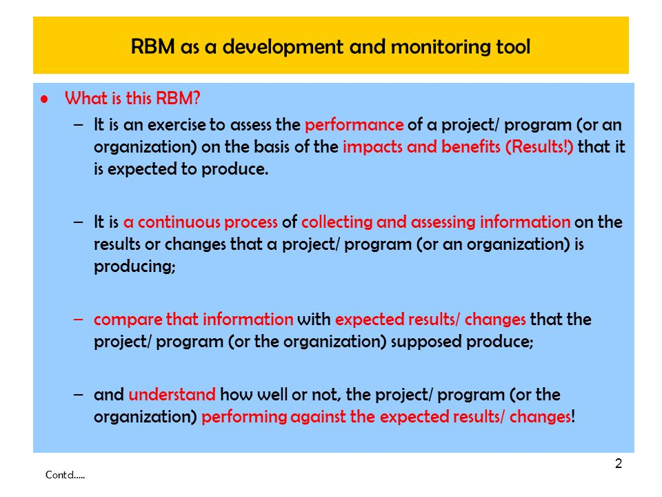 RBM as a development and monitoring tool