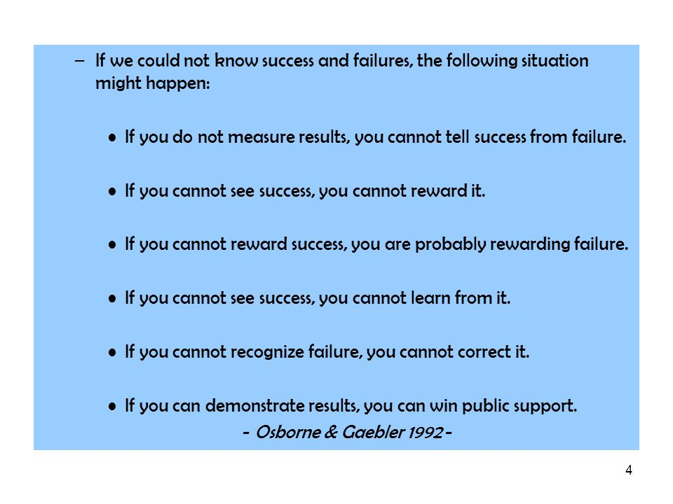 If we could not know success and failures, the following situation might happen: