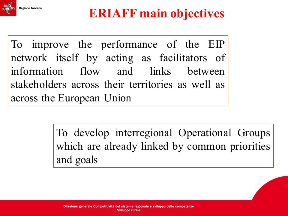ERIAFF main objectives