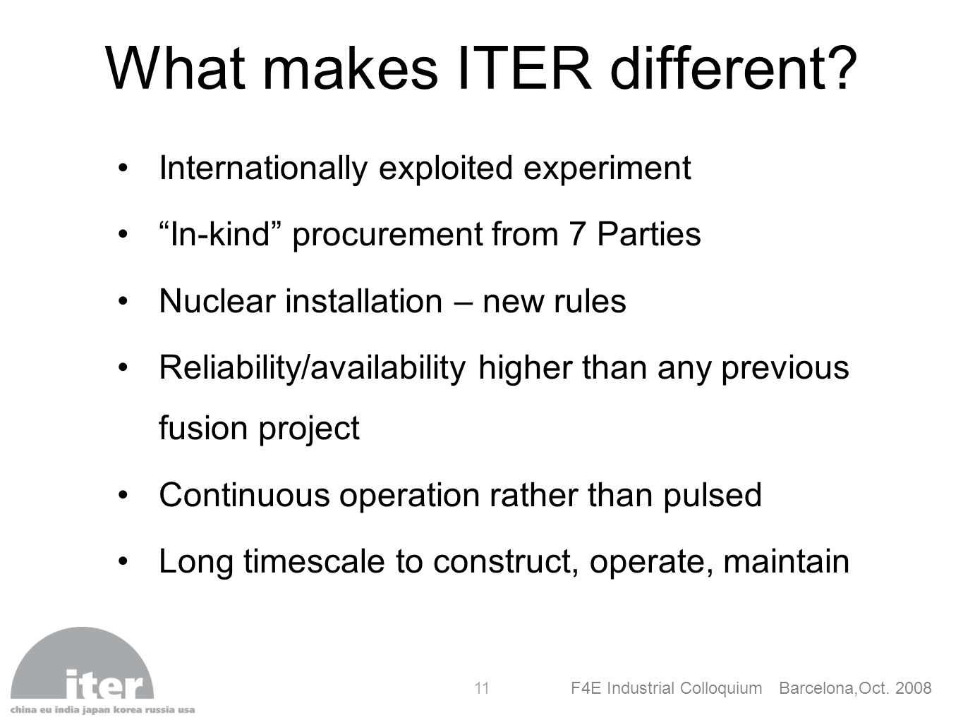 What makes ITER different
