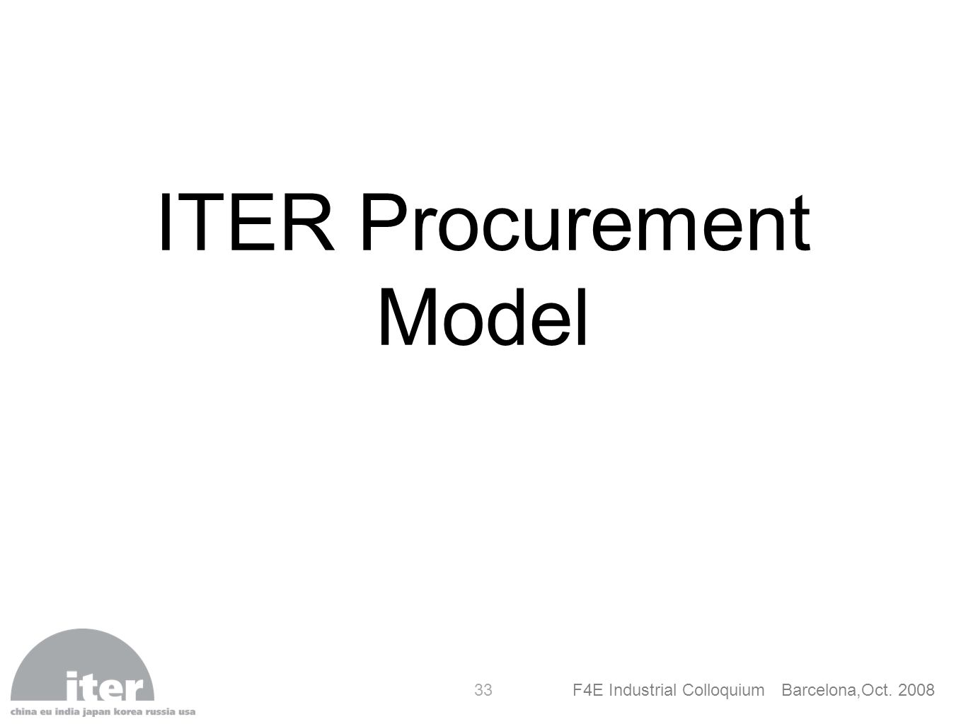 ITER Procurement Model