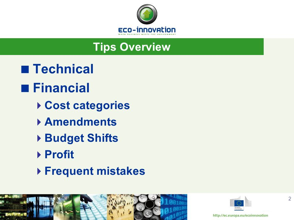 Technical Financial Tips Overview Cost categories Amendments