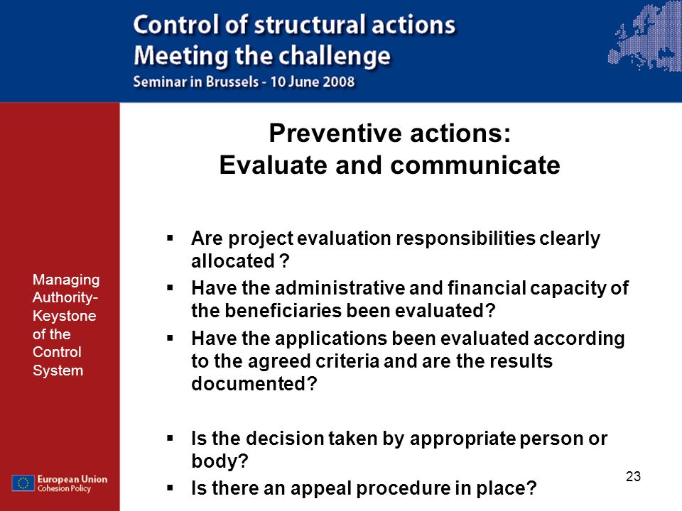 Preventive actions: Evaluate and communicate