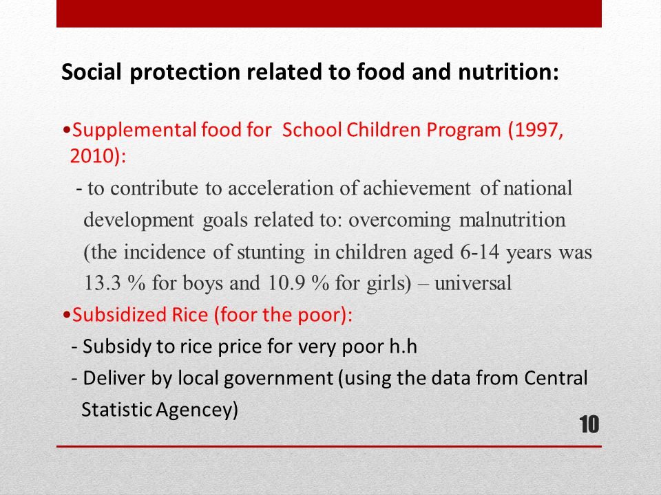 Social protection related to food and nutrition:
