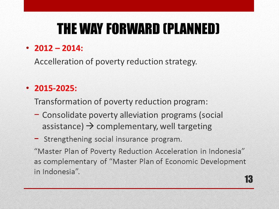 THE WAY FORWARD (PLANNED)