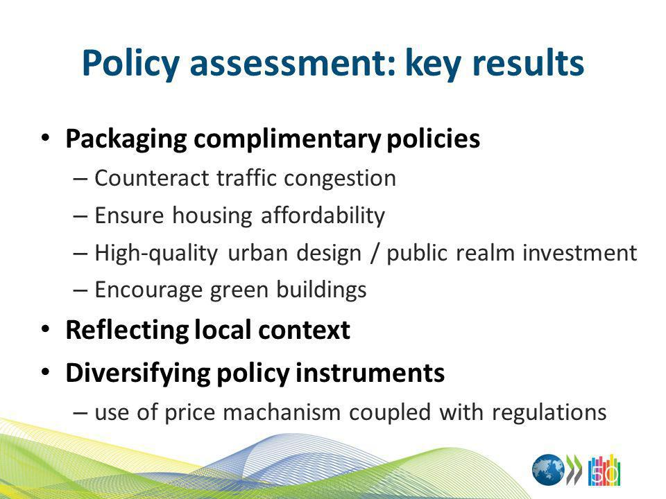 Policy assessment: key results