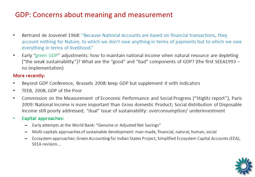 GDP: Concerns about meaning and measurement