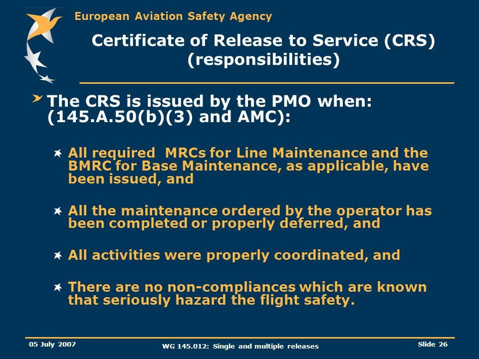 Certificate of Release to Service (CRS) (responsibilities)