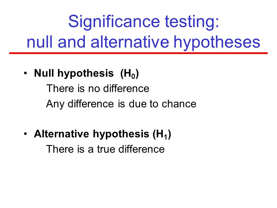 Significance testing: null and alternative hypotheses
