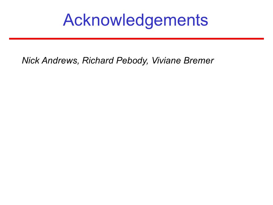 Acknowledgements Nick Andrews, Richard Pebody, Viviane Bremer