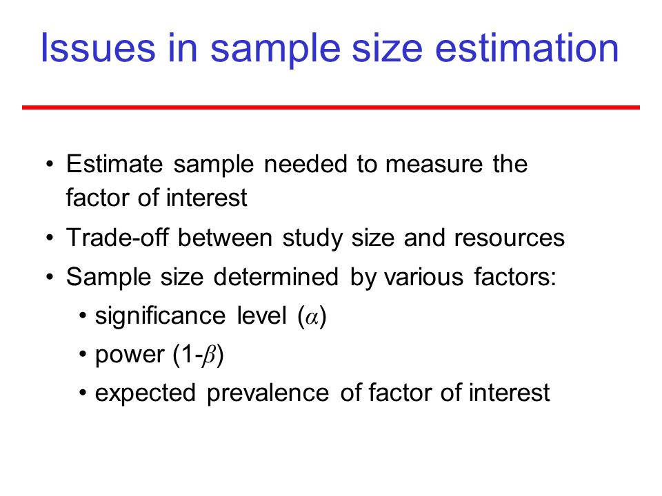 Issues in sample size estimation