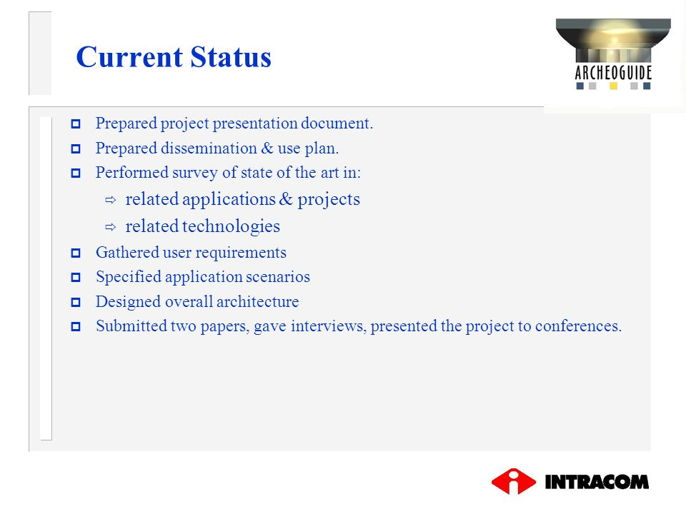 Current Status related applications & projects related technologies