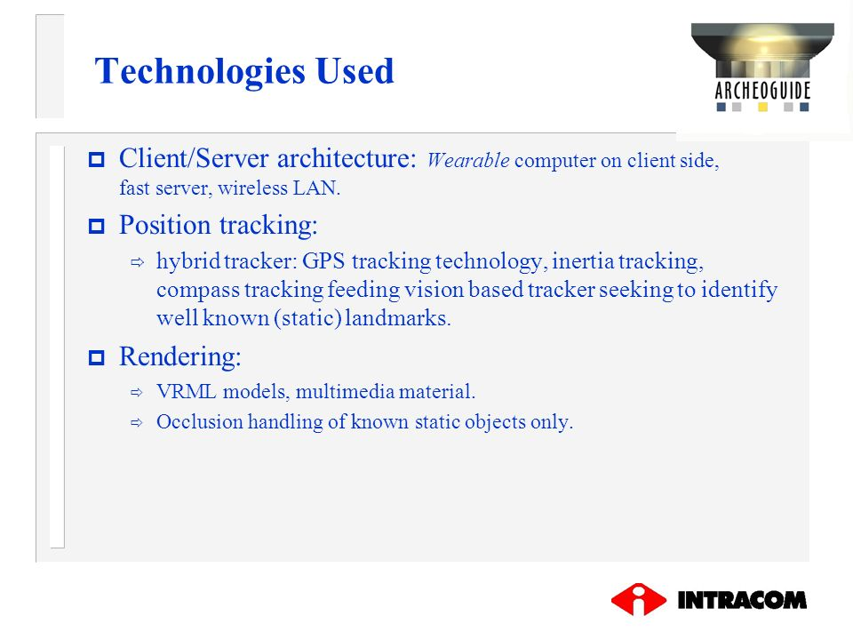 Technologies Used Client/Server architecture: Wearable computer on client side, fast server, wireless LAN.