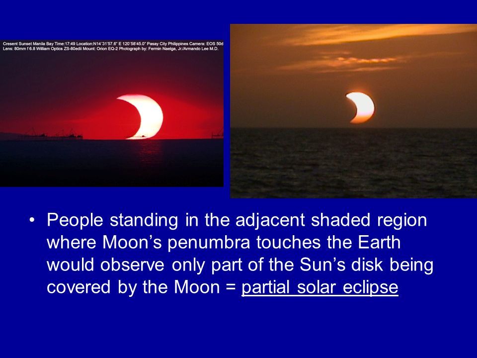 People standing in the adjacent shaded region where Moon's penumbra touches the Earth would observe only part of the Sun's disk being covered by the Moon = partial solar eclipse