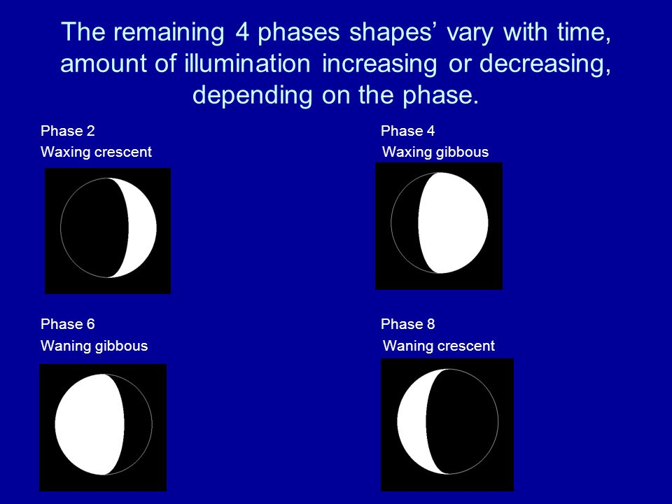 The remaining 4 phases shapes' vary with time, amount of illumination increasing or decreasing, depending on the phase.
