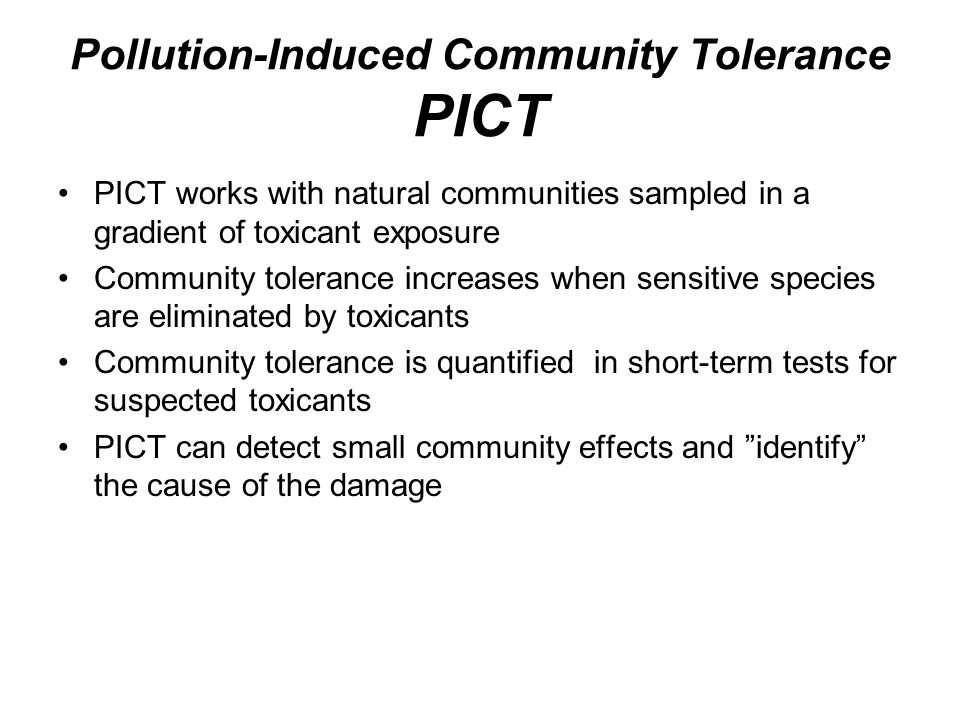 Pollution-Induced Community Tolerance PICT