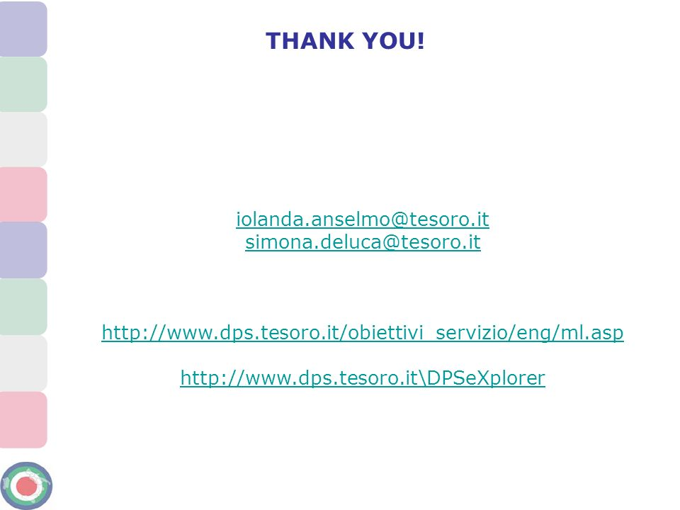 THANK YOU! iolanda.anselmo@tesoro.it simona.deluca@tesoro.it